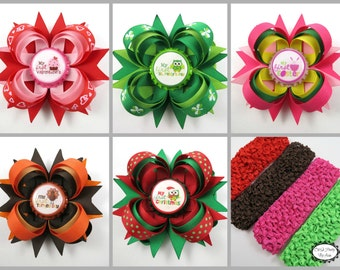 Newborn Hair Bow Set - First Holiday Hair Bow Set - Baby Girl Gift Set - Baby Shower Gift - New Baby Bows - Halloween Thanksgiving Christmas