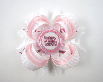 Daddy's Little Princess Hair Bow - Father's Day Hair Bow - Pink Hair Bow - White Hair Bow - Daddy Hair Bow - Toddler Child Baby Hair Bow