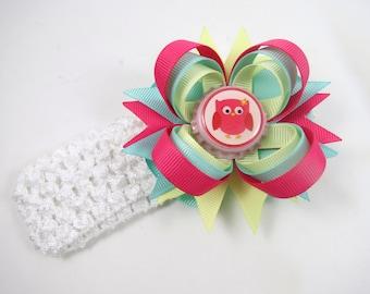 Owl Hair Bow - Owl Headband - Mint Pink and Yellow Hair Bow - Colorful Hair Bow - Small Hair Bow - Toddler Child Hair Bow - HEADBAND OPTIONS