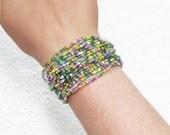 Beaded Bracelets, Woven Beaded Bracelets, Cuff Bracelets, Beaded Bracelets, Gypsy Jewelry, beads crochet cuff, womens bracelet wrap, CUFF