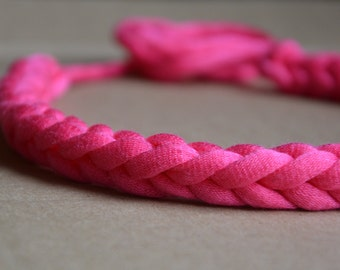 Neon Braided Necklace / Handmade Fabric Accessory Pink, Lime, Red, Blue and Emerald Free US Shipping