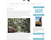 Southern Belle Blogger Template - Magnolia Minimalist Theme - Magnolia Ribbons Blue Southern Cowgirl