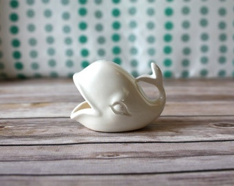 White Whale Ring Holder -  Tiny Ceramic Whale - Vintage Style Whale - Handmade Whale Jewelry Holder - Bridal Shower Gift