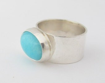 Sterling Silver Ring with Oval Amazonite/ Gemstone Ring/ Amazonite Ring/ Wide Band