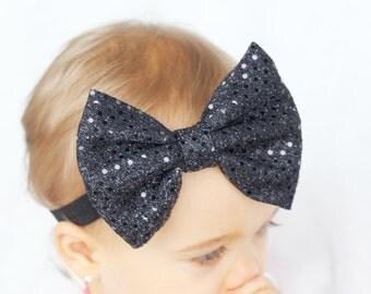 Baby Black Sequin Headband, Black Baby Headband, Black Baby Bow Headband, Trendy Baby Headband, Modern Baby Accessory, Black Bow Headband