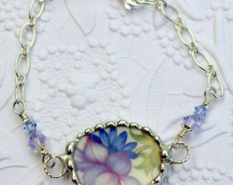 Bracelet, Broken China Jewelry, Broken China Bracelet, Purple and Blue Floral, Sterling Silver Chain