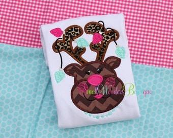 Girl Reindeer Embroidered Shirt - Christmas Shirt - Reindeer Shirt - Girls Christmas Shirt - Holiday Shirt - Reindeer - Santa - Leopard