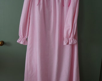 Ladies' Simple Cotton or Flannel Button Front Nightgown w/Insertion Trim, MADE TO MEASURE