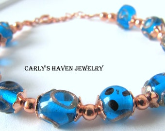 Blue and copper beaded lampwork glass bracelet, handmade, ready to ship, gifts for women, gifts for mom, jewelry for women