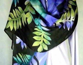 Hand Painted Silk Scarf Shawl Wrap with Leaves in purple teal and green