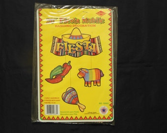 Beistle 20 Inch Fiesta Mobile Hanging Decoration Unused Party Decoration Printed on Both Sides