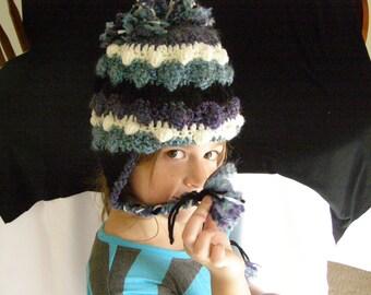 Handmade Crocheted Bobble Poof Earflap Hat Adult Male Female