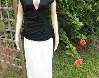 Vintage Miss O by Oscar de la Renta Black n White Ruched Plunging Neck  Formal Maxi Dress, size 6