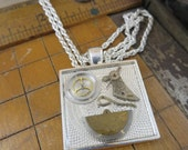 Steampunk Necklace made with Vintage Watch Parts and Faces Cast in Resin. #927