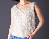 SALE 50% OFF 60s Vintage Beaded Tank in Sparkling Ivory
