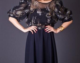 SALE 50% OFF 80s Vintage Sheer Party Dress in Black & Gold