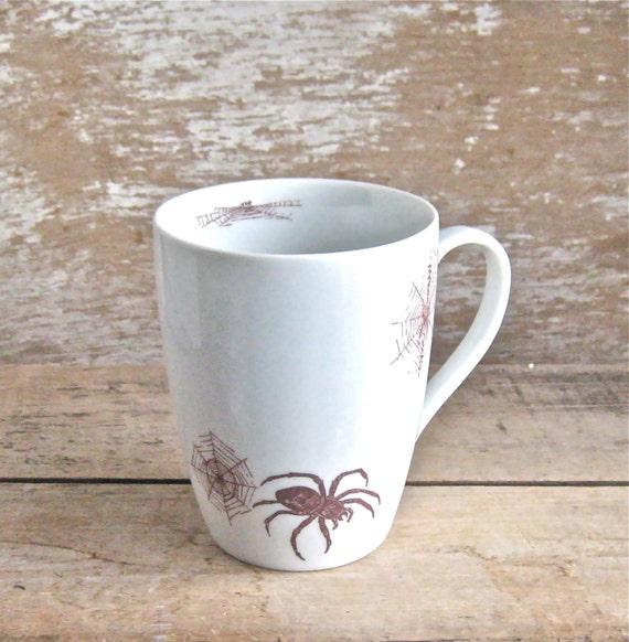 Large Spider Mug, Spiders and Spider Webs, 16 oz Cobwebs Tea Mug, Coffee Cup, Ready to Ship