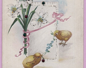 """Ca. 1911 """"Chicks and Lilies"""" Easter Greetings Postcard - 763"""