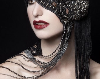 MADE TO ORDER Couture mask rhinestone studded beaded chain headpiece headdress vampire goth Nior