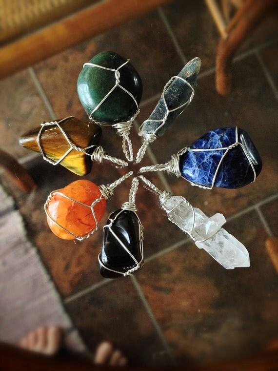 Simple Sustainable Copper Chakra Pendant Set; Seven 1-Stone Pendants - Custom Made Healing Tools - Read Description