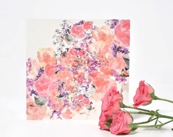 Square Hand Painted Floral Card. Artisan Greetings card. Pink, Purple & Peach. Watercolour painted. Hand Drawn. Blank Card. Any occasion.