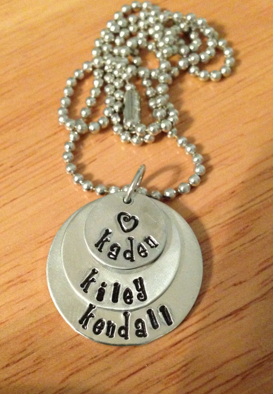 Aluminum Hand Stamped Personalized Necklace - 3 Circles
