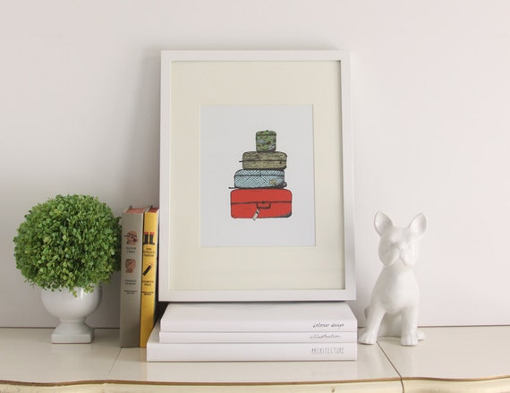 Luggage Print - Travel Print, Illustrated Print, Digital Art, Kids Room, Bright, Cheery Art, Travel Art, Adventure Print, 8 x 10 Print