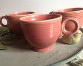 Vintage Fiesta Rose Tea Cups TWO ca 1950s