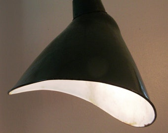 1950s Vintage Industrial Green and White Enamel Pendant Hanging Light Fixture from Texas Barn. Factory Light.  Angled.