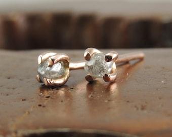 14k Rose Gold Uncut Diamond Studs, Rough Diamond Earrings, Diamond Studs, Raw Diamond Earrings, Rose Gold Earrings