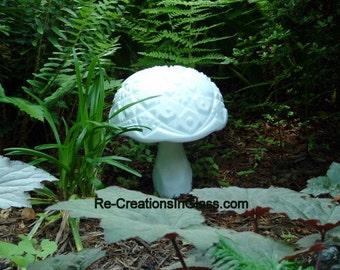 Garden art.  Milk glass mushroom made with repurposed upcycled glass. Garden decor. Garden totem.  Lawn ornament.