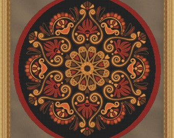 Cross Stitch Pattern Hearts on Fire Mandala Exquisite Design Instant Download PdF
