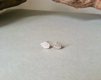 SALE - Sterling Silver Leaf Earrings / posts, studs, sterling silver studs, simple. minimalist, modern
