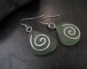 Sea glass jewelry,  Sea foam green sea glass with sterling silver swirl earrings