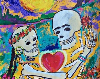 SALE Halloween Lovers Day of Dead original painting Dia de los Muesrtos Mexican art wall decor 19.5 x 25.5