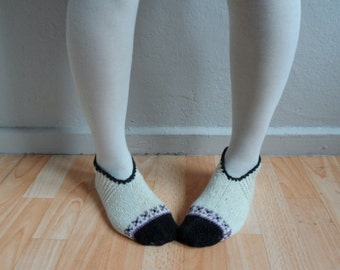 Hand Knitted Wool Cream Socks Slippers, Wool Socks, Women Socks, Black Purple Socks, Winter Fashion, Winter Accessories