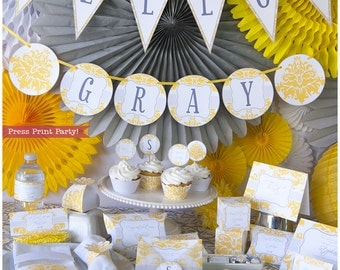 Yellow U0026 Gray Baby Shower Decorations Printable Set, Gender Neutral Baby  Shower, Unisex,