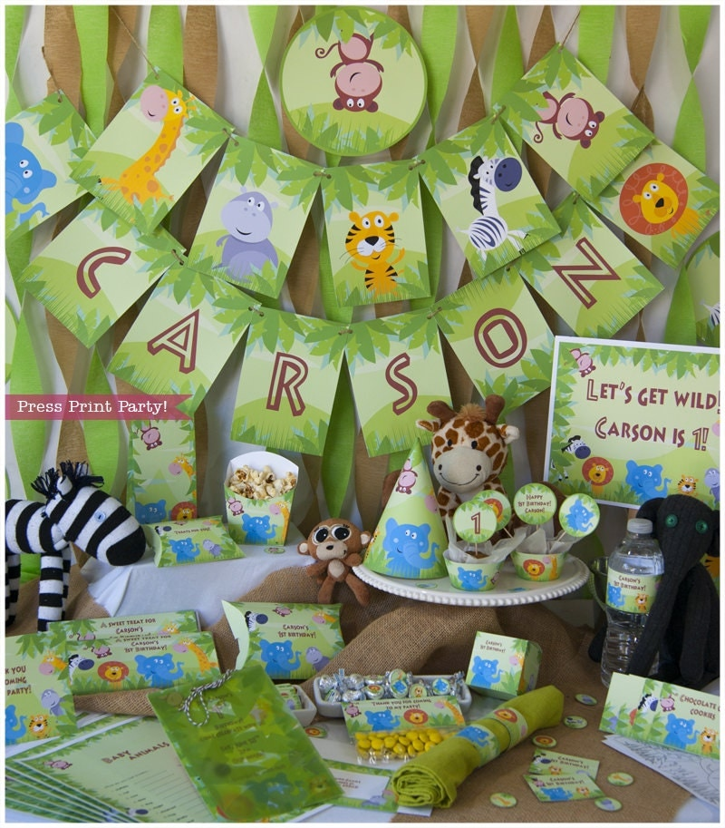 Jungle safari party birthday or baby shower printables diy for Baby shower safari decoration