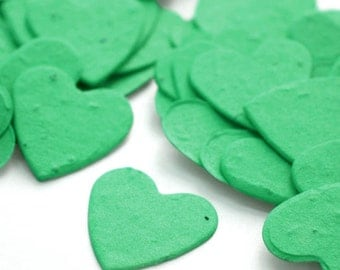 Shop Closing Sale! Emerald Green Wedding Heart Shaped Seed Paper Confetti -  350 Pieces