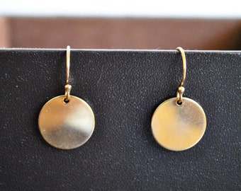 SALE .  GOLD DISCS  earrings