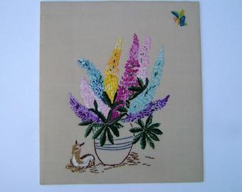 1950s Vintage Needlepoint Vintage Sampler Vintage Sewing Vintage Needlework of English Lupin Flowers