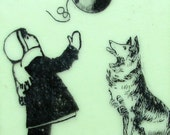 Girl with Collie and Balloon Encaustic Painting