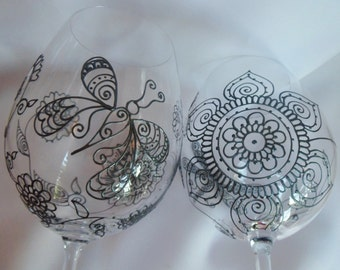 DRAGONFLY & BUTTERFLY designs. Custom wine GLASSES (2) One of a kind, gift with symbolism- liberation, transformation, new beginnings