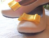 Satin Bow Shoe Clips / Bridal Party Wedding /Women Shoe Clips in Yellow
