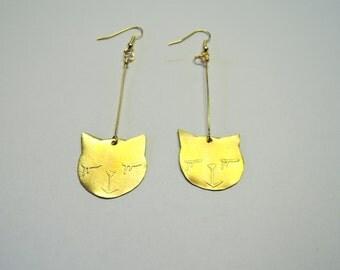 Cat Earrings - Brass Earrings with cat faces