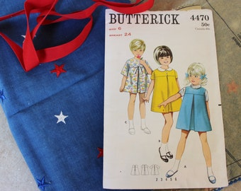Vintage Fabric and Pattern for 1960's Girls Dress- Pattern including Fabric and Trim- Butterick 4470 Size 6- Patriotic Red/White/Blue Fabric