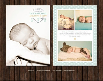 INSTANT Download 5x7 Birth Announcement Template  - B33