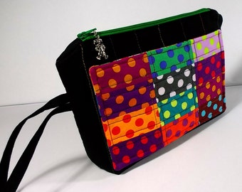 Patchwork Clutch, Quilted Zip Pouch, Makeup Bag, Jester, Harlequin, Wristlet,