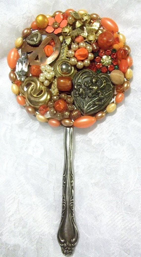 Jeweled Hand Mirror Repurposed Jewelry Mirror Upcycled Vintage Jewelry Altered Art Steampunk Orange Wedding Orange Bridal Gift OOAK   DD 21