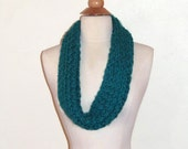 Chunky and Colorful Hand Knitted  Loops and Threads Aqua Blue Infinity Cowl Scarf